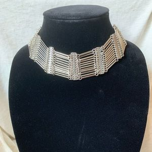 Jewelry - Metal multi-layer silver tone choker